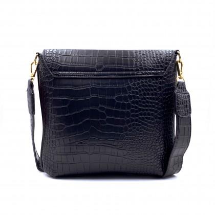 VERN'S Croc-Effect Front Flap Crossbody Bag - B02036110