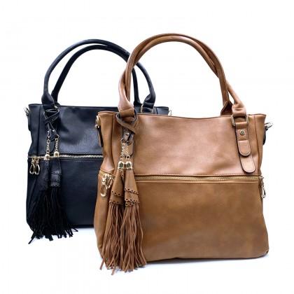 VERN'S Double Handle PU Shoulder Bag - B03037610